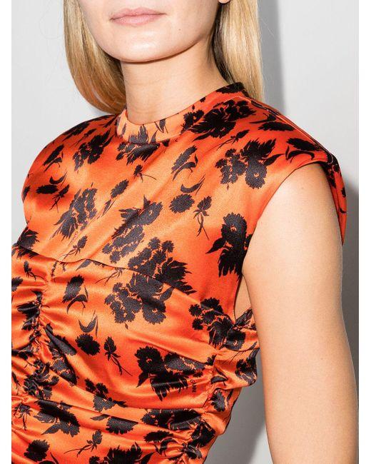 Блузка Со Сборками И Цветочным Принтом Ganni, цвет: Orange