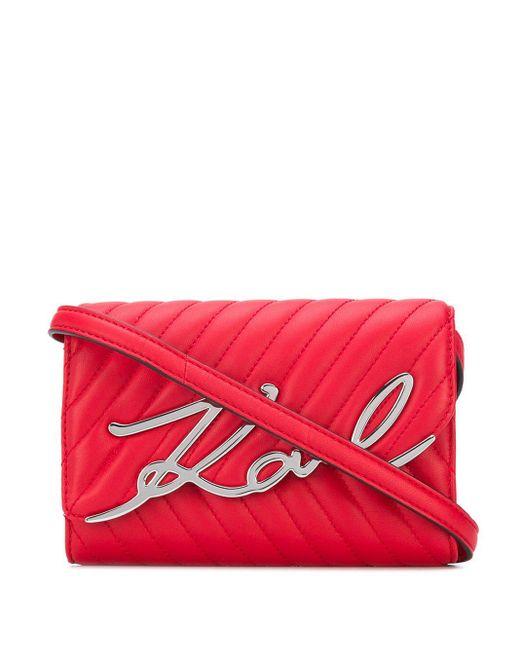 Karl Lagerfeld ロゴ ショルダーバッグ Red