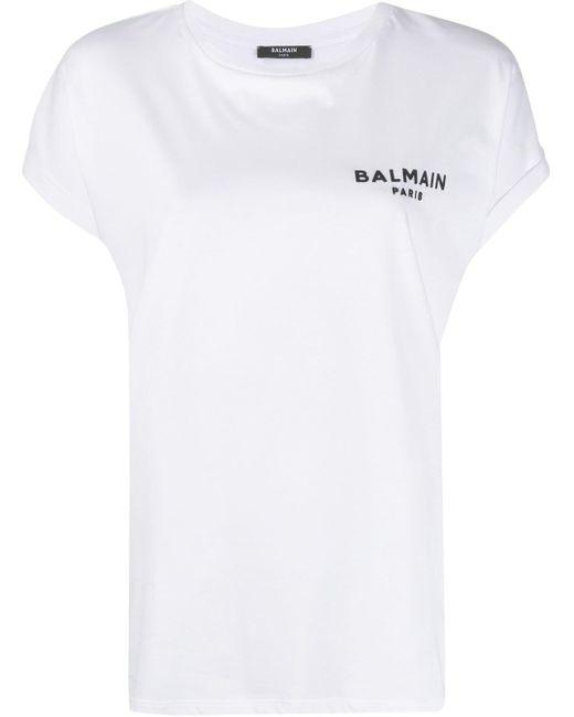 Balmain Camiseta con logo estampado de mujer de color blanco PtXMm