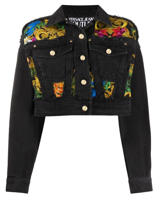 Versace Jeans バロックプリント デニムジャケット Black