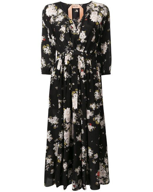 N°21 フローラル ドレス Black