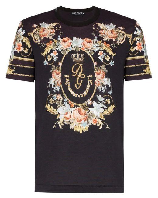 メンズ Dolce & Gabbana フローラル Tシャツ Black