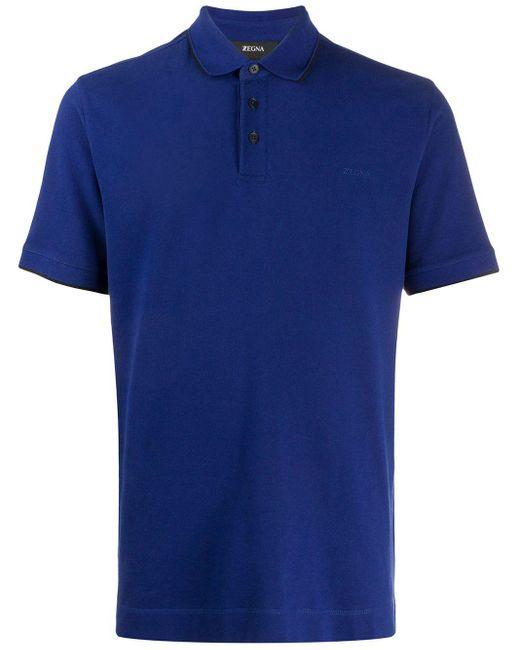 メンズ Z Zegna ロゴ ポロシャツ Blue
