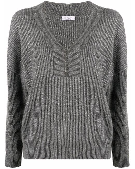 Brunello Cucinelli Gray Chunky Knitted Jumper