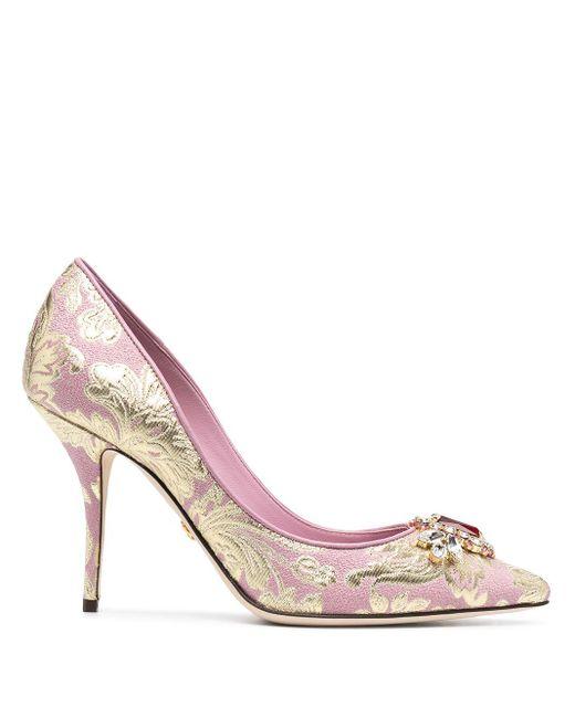 Zapatos de tacón con brocado y apliques Dolce & Gabbana de color Pink
