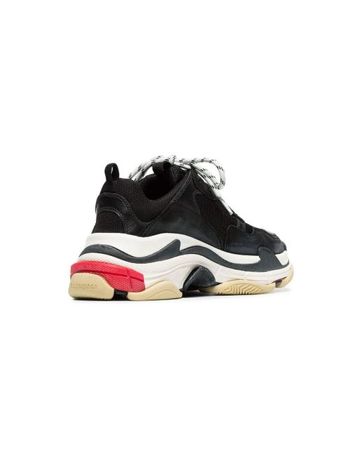 Balenciaga Black Triple S Lace-up Sneakers