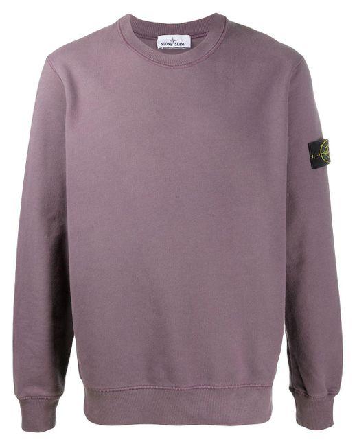 Maglione con applicazione di Stone Island in Purple da Uomo