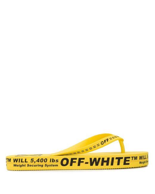 メンズ Off-White c/o Virgil Abloh イエロー And ブラック アロー フリップ フロップ Yellow