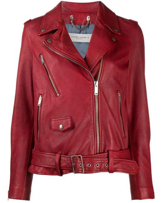 Golden Goose Deluxe Brand Red Classic Biker Jacket