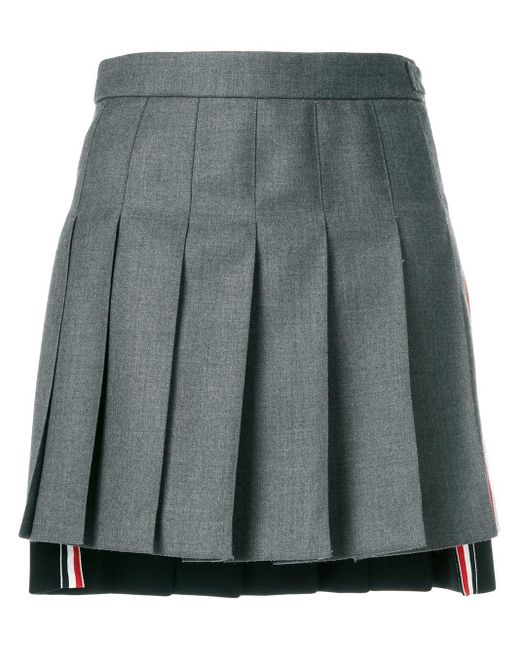 Thom Browne ドロップバック ミニプリーツスカート R/w/bストライプ ソリッドウール ツイル Gray