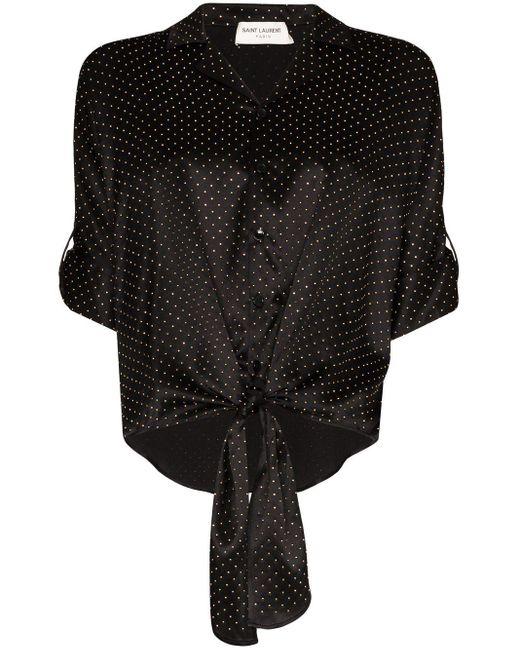 Saint Laurent ポルカドット シルクシャツ Black