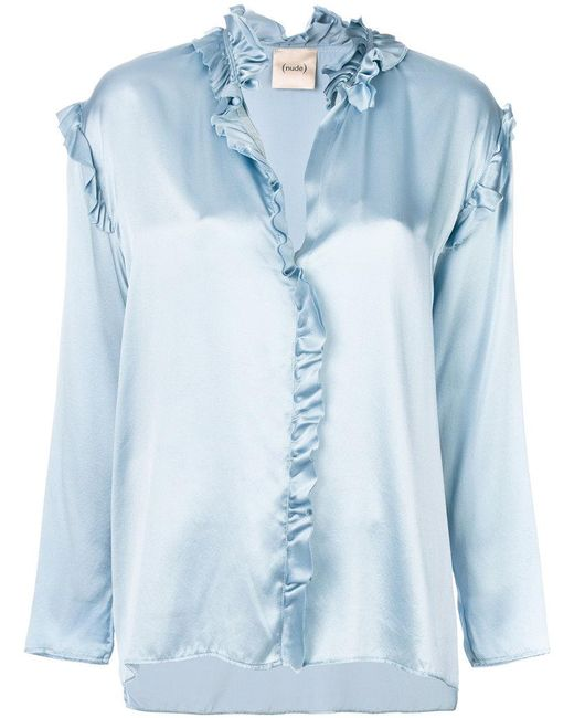 Nude | Blue Metallic Frill-trim Blouse | Lyst