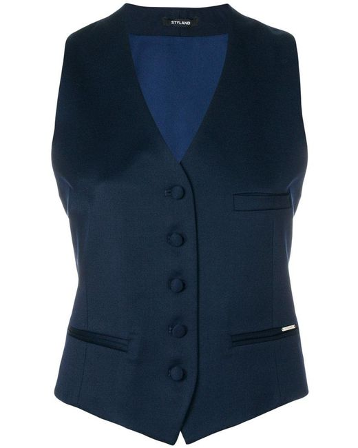 Styland - Blue Button Waistcoat - Lyst