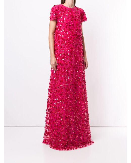 Carolina Herrera スパンコール ドレス Pink