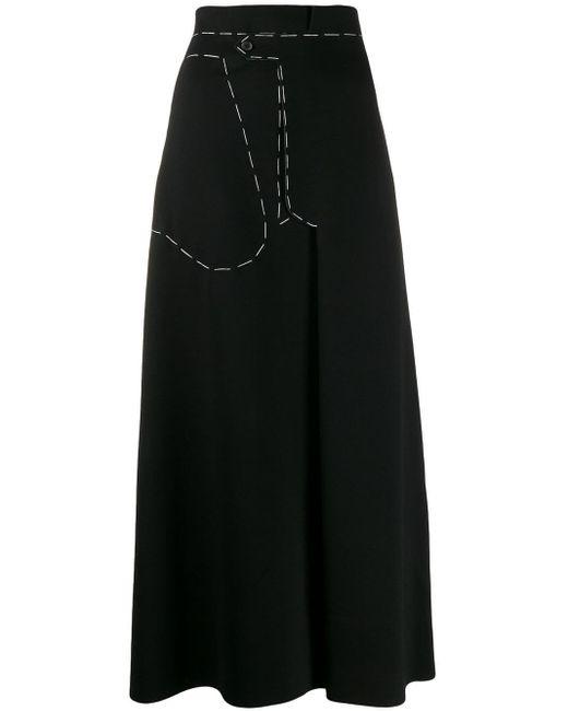 Maison Margiela コントラストステッチ マキシスカート Black