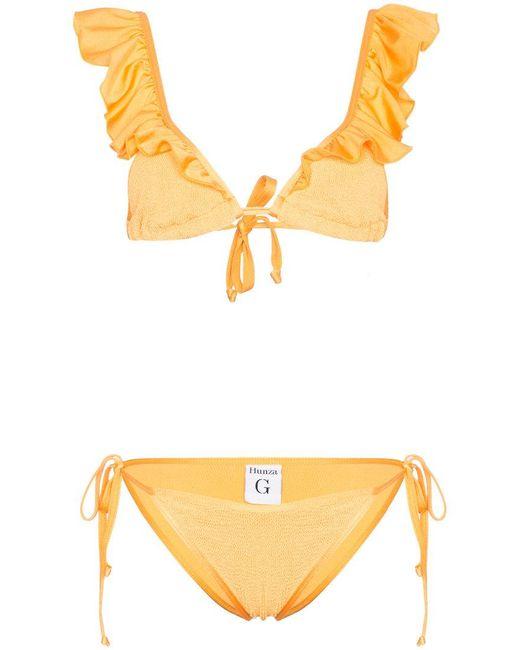 Hunza G - Orange Bonita Frill Bikini - Lyst