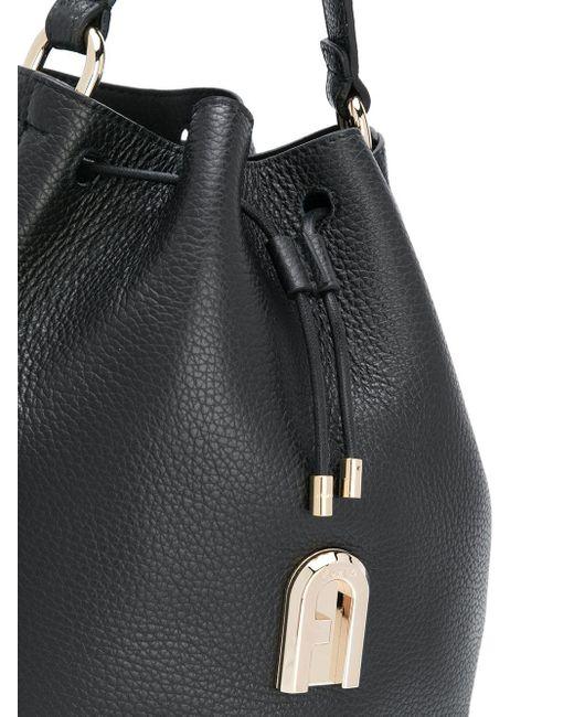 Сумка-ведро Sleek Из Зернистой Кожи Furla, цвет: Black