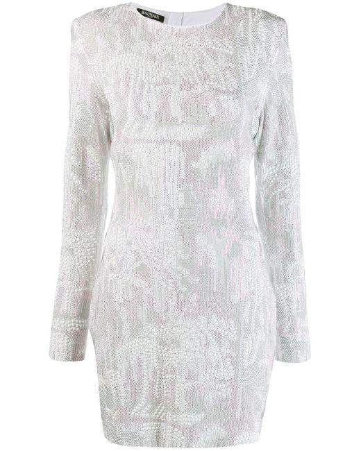 Balmain White Studded Bodycon Dress