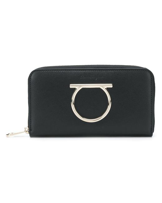 Gancini Zip Around Wallet Ferragamo, цвет: Black