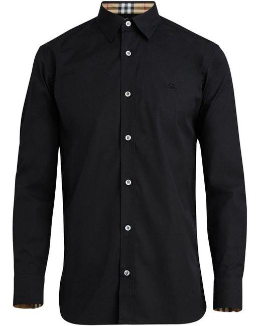 Camisa lisa con botones Burberry de hombre de color Black