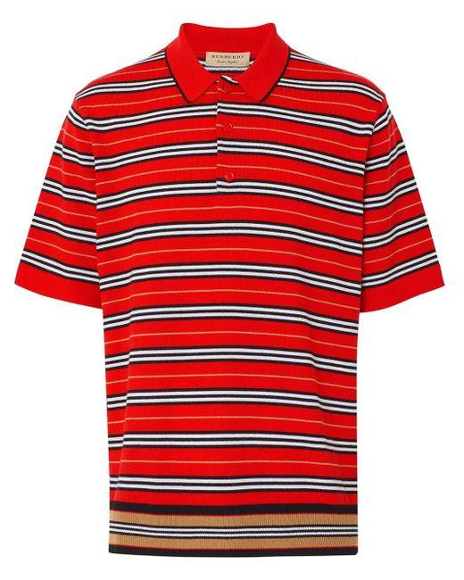 メンズ Burberry ボーダー ポロシャツ Red