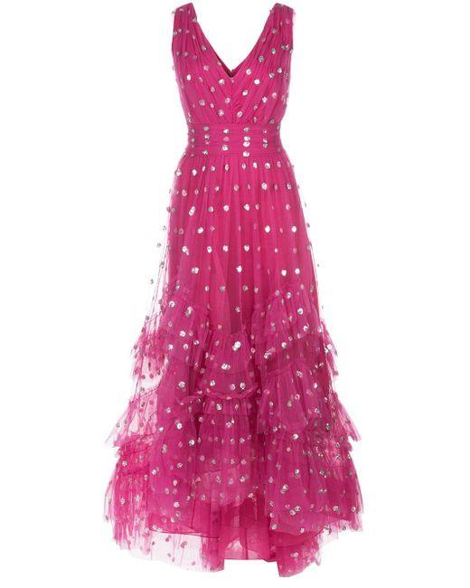 Marchesa notte ポルカドット チュールドレス Pink