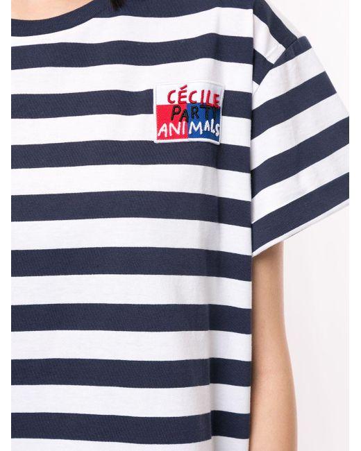 Être Cécile Breton エンブロイダリー Tシャツ Blue