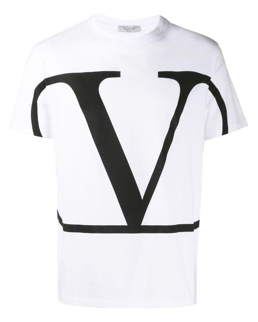 メンズ Valentino Vロゴ Tシャツ Black