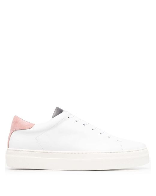 Low Brand White Contrasting-heel Counter Sneakers for men