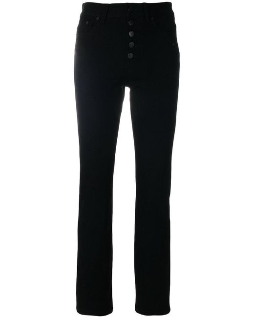 Joseph | Black Buttoned Tapered Jeans | Lyst