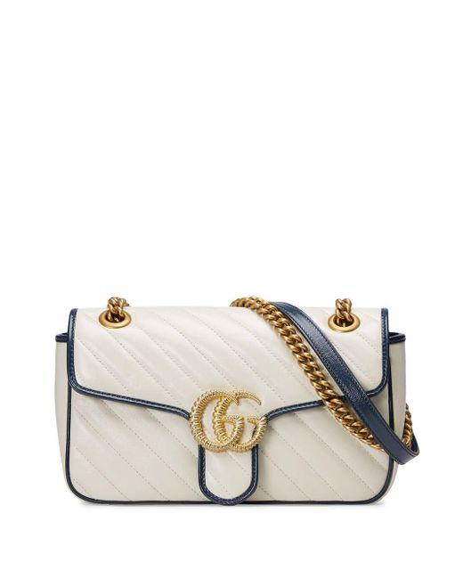 Gucci 【公式】 (グッチ)〔GGマーモント〕スモール ショルダーバッグホワイト レザー ホワイト White