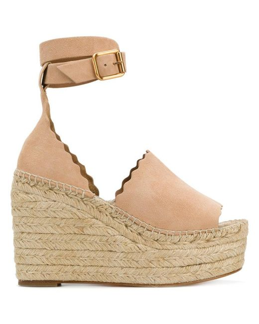 7543299b5d00 Lyst - Chloé Scalloped Trim Wedges in Natural - Save 31%