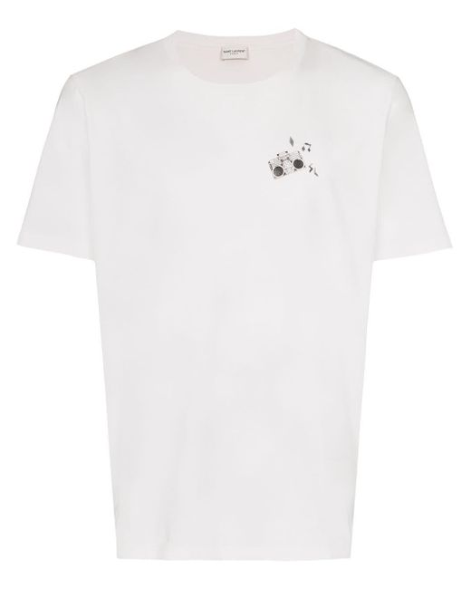 メンズ Saint Laurent Radio Tシャツ White