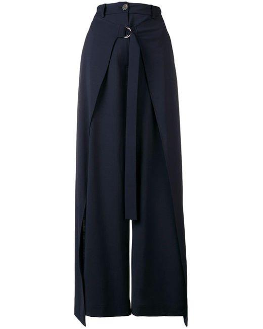 AALTO Pantalones anchos drapeados de mujer de color azul