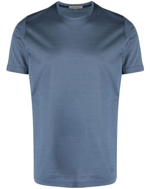 Corneliani Blue Logo-embroidered Cotton T-shirt for men