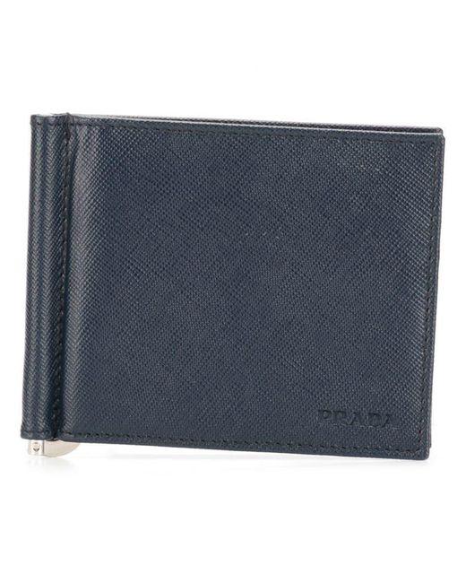 dfa881067005ff Prada - Blue Saffiano Billfold Leather for Men - Lyst ...