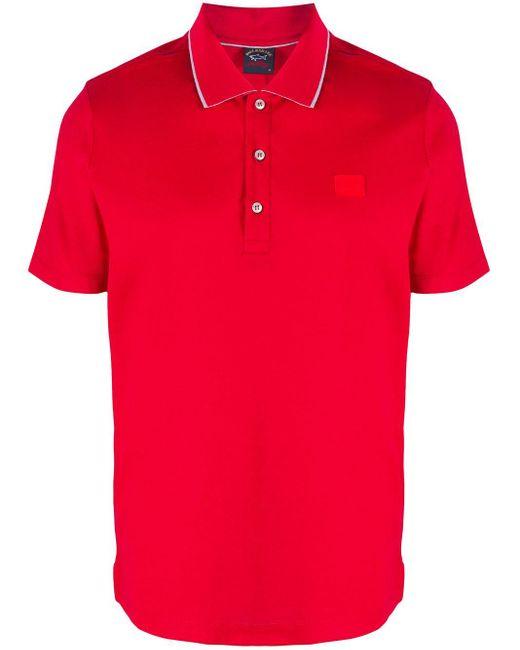 メンズ Paul & Shark ロゴ ポロシャツ Red