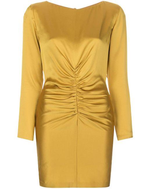Michelle Mason ギャザー シルク ドレス Yellow