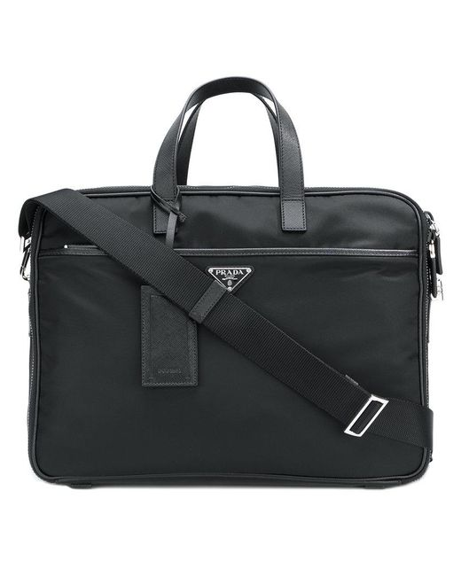 Prada - Black Zipped Briefcase for Men - Lyst