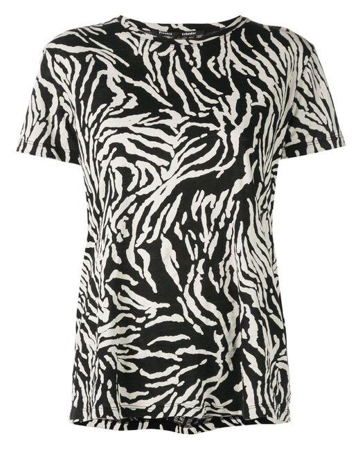 Proenza Schouler Camiseta de manga corta con motivo de cebra de mujer de color negro 3Jgtu