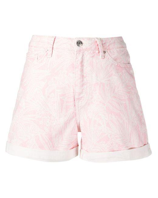 Tommy Hilfiger Pink Botanical-print Denim Shorts