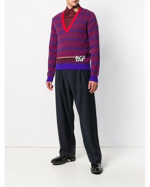 cf83b87a2b98 ... Prada - Blue V-neck Intarsia Logo Sweater for Men - Lyst ...