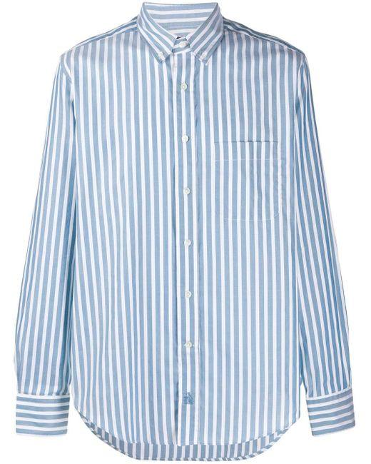 メンズ Lanvin ストライプ ボタン シャツ Blue