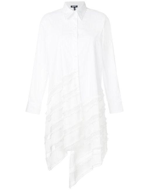 Jil Sander Navy - White Long Asymmetric Stripe Shirt - Lyst