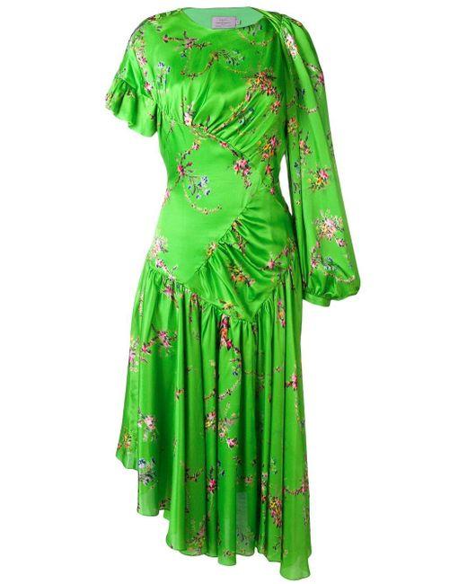 Robe asymétrique en satin à imprimé floral Geri Preen By Thornton Bregazzi en coloris Green