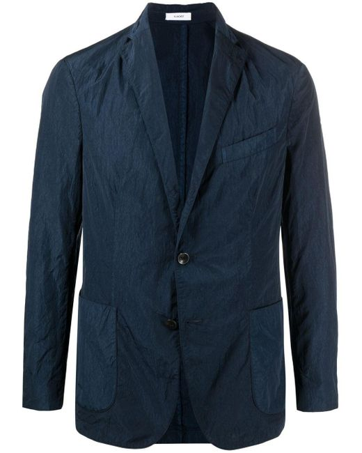 メンズ Boglioli ノッチドラペル シングルジャケット Blue