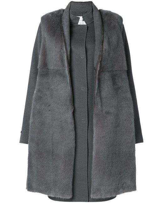 Manzoni 24 - Gray Mink Fur Fitted Coat - Lyst
