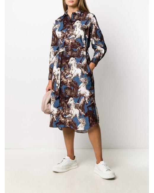 KENZO プリント シャツドレス Blue
