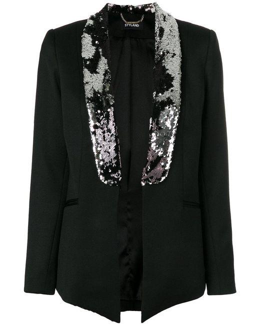Styland - Black Sequin Embellished Blazer - Lyst