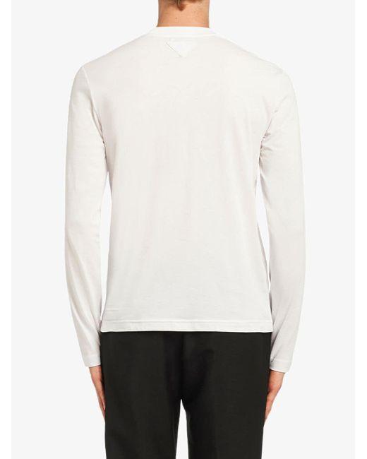 T-shirt à manches longues Prada pour homme en coloris White